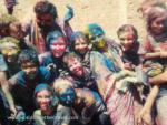 Group shot of people with blue painted faces, host student exchange programs